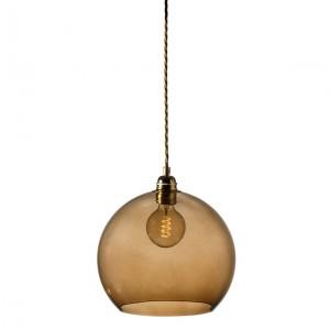 Orb glass pendant 22 cm   chestnut brown, brass wire