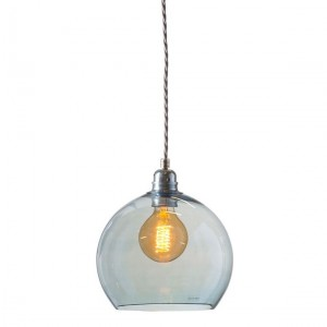 Orb glass pendant 22 cm   topaz blue, silver wire