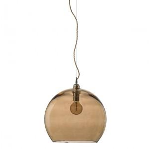 Orb glass pendant 28 cm   chestnut brown, brass wire