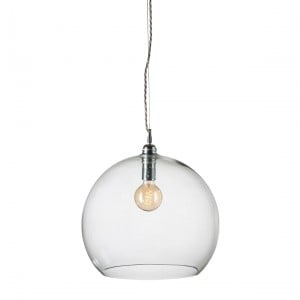 Orb glass pendant 39 cm | clear, silver wire