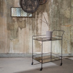 Notre Monde Bar Cart - Bronze Mirror - Metal Frame
