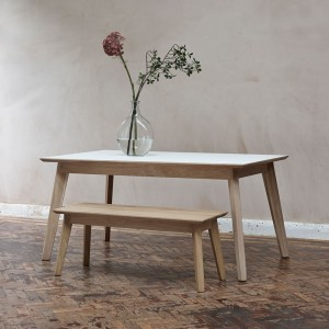 Bianco bench - solid wood top
