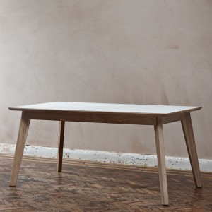 Bianco Fenix + walnut dining table