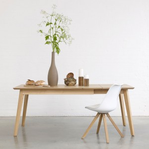 Bianco oak extendable dining table
