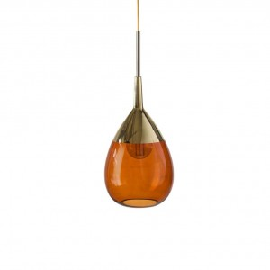 Brinco glass pendant 22cm | Rust and gold