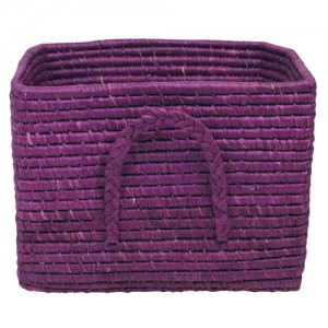 Rafia storage basket, Plum