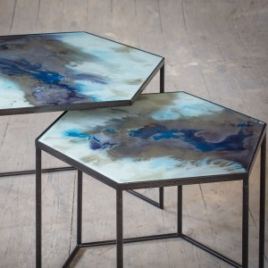 Notre Monde Cobalt Mist Organic - Hexagon Side Tables - Set
