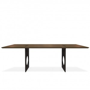 Flux walnut dining tables + raw steel base