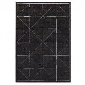 Havana indoor and outdoor charcoal check rug