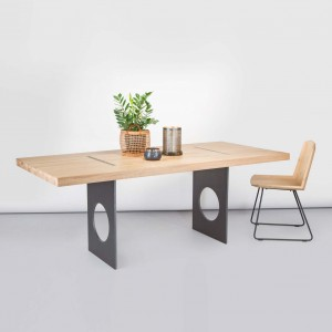 Flux oak dining tables + raw steel base