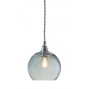 Orb glass pendant 15 cm   topaz blue, silver wire
