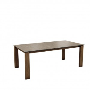 Mason straight leg PB1 Ceramic + walnut extending dining table
