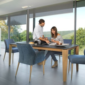 Mason round leg PB2 Fenix + walnut extending dining table