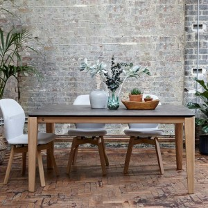 Mason round leg PB2 Ceramic + oak dining table