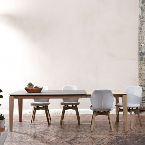 Mason round leg PB2 Ceramic + walnut extending dining tables