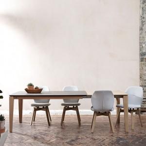 Mason round leg PB2 Ceramic + walnut extending dining tables