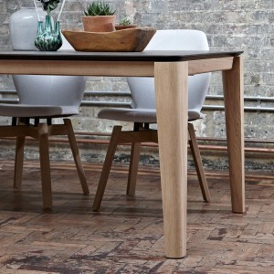 Mason round leg PB2 Ceramic + walnut dining table