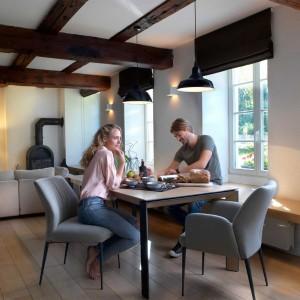 Mason metal leg PB3 Ceramic + walnut extending dining table
