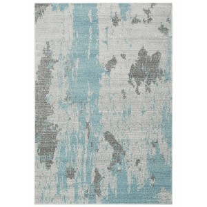 Distress rug - Painterly duck egg