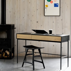 Ethnicraft Oak Blackbird desk - 2 drawers