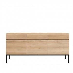 Ethnicraft Oak Ligna sideboard black -  3 doors / 3 drawers