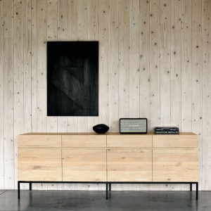 Ethnicraft Oak Ligna sideboard black -  4 doors / 4 drawers