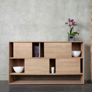 Ethnicraft Oak Nordic low rack ‐ 4 sliding doors