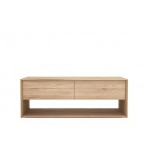 Ethnicraft Oak Nordic TV cupboard ‐ 1 flip‐down door ‐ 1 drawer - 120cm