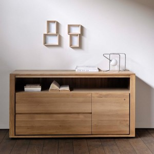 Ethnicraft Oak Shadow chest of drawers - 2 drawers - 1 door