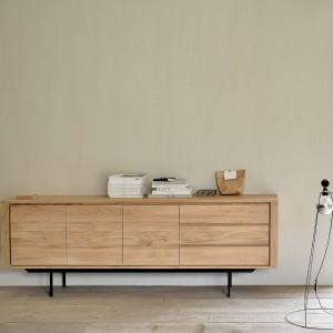 Ethnicraft Oak Shadow sideboard - 3 doors / 3 drawers - black meal legs