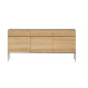 Ethnicraft Oak Ligna sideboard 165 cm 3 opening doors / 3 drawers