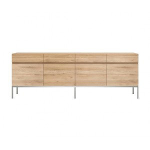 Ethnicraft Oak Ligna sideboard 220 cm 4 opening doors / 4 drawers