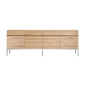 Ethnicraft Oak Ligna sideboard 220 cm 4 opening doors / 4 drawers