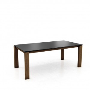 Mason straight leg PB1 Fenix + walnut extending dining table