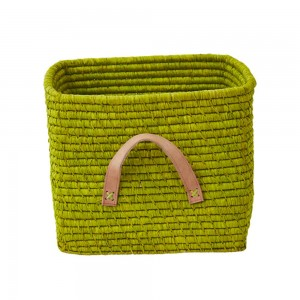Raffia storage basket, Anis Green