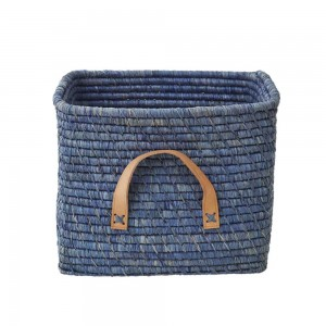 Raffia storage basket, Blue