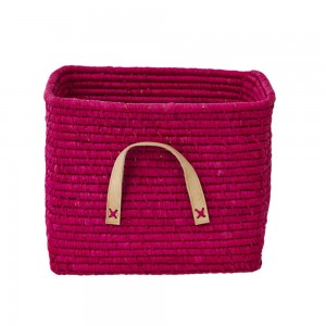 Raffia storage basket, Fuschia