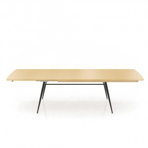 Tate oak + metal extending dining table