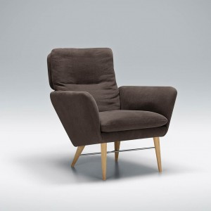 Zed armchair with wood legs