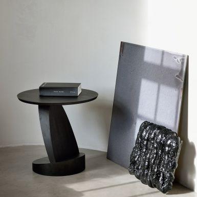 Teak Oblic black side table