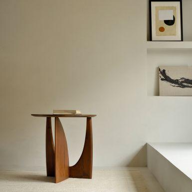 Ethnicraft Teak Geometric brown side table