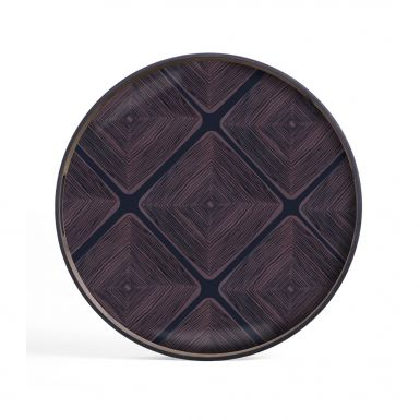 Midnight Linear Squares glass tray Round - Small