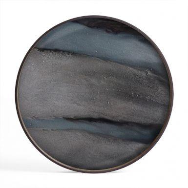 Graphite Organic Glass Tray Round - Large