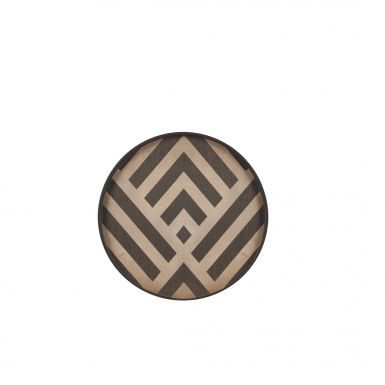 Notre Monde Graphite Chevron - Driftwood Round Tray - Mini 30cm