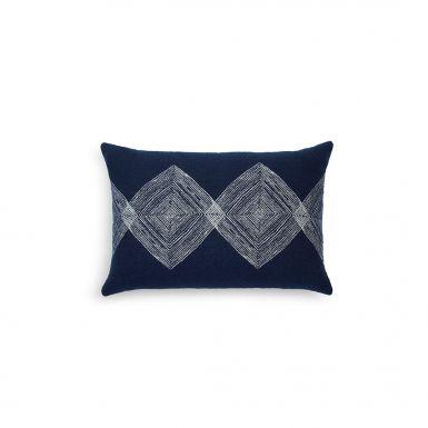 Navy Linear Diamonds cushion - lumbar