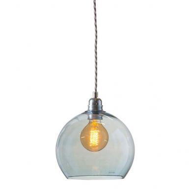 Orb glass pendant 22 cm | topaz blue, silver wire