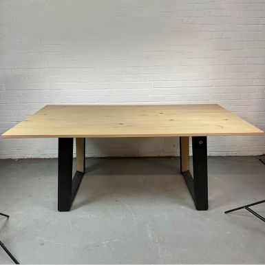 Ex display Flow fixed dining table 180 x 90cm in W25 rustic oak finish (233322)