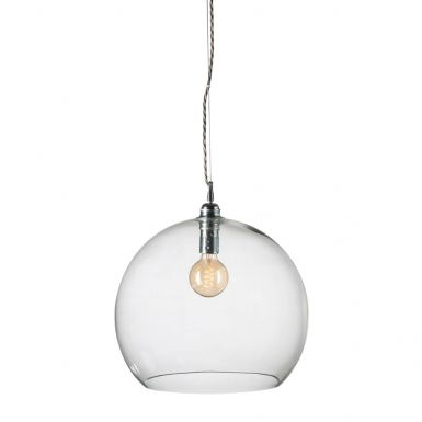 Orb glass pendant 39 cm   clear, silver wire