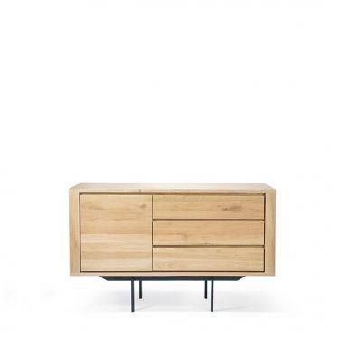 Ethnicraft Oak Shadow sideboard - 1 door / 3 drawers - black metal legs
