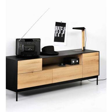 Ethnicraft Oak Blackbird TV cupboard ‐ 1 door / 1 flip down door / 2 drawers